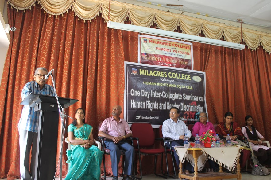 Inter Collegiate one day seminar on Human Rights & Gender Discrimination at Milagres College