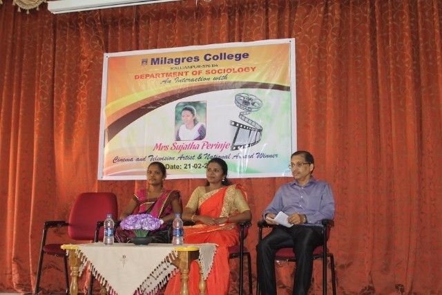 Milagres College students interaction with award winning cine actress Sujatha Parinje