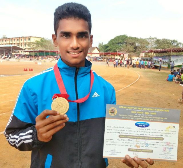 Sunny Dsouza of Milagres PU College wins Gold at State and enters National Level