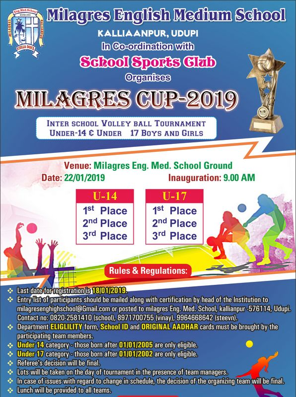 """Milagres English Schools to host """"Milagres Cup 2019"""" Inter District Volleyball Tournament on January 22"""